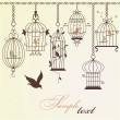 Vintage bird cages. — Vector de stock