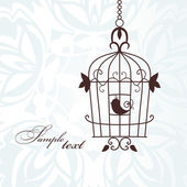 Cute bird in birdcage — Stock Vector