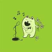 Singing cat with a microphone and flowers — Stock Vector