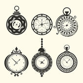 Set of vintage clocks — Stock Vector