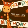 Cute happy birthday card with giraffe. — Stock Vector