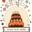 Happy birthday cake card design. vector illustration — Imagens vectoriais em stock