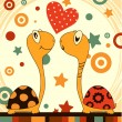 Stock Vector: Romantic love turtle