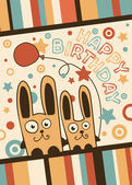 Happy Birthday card with balloons and rabbits — Stock Vector