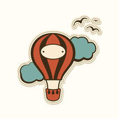 3hot air balloon in the sky — Stock Vector