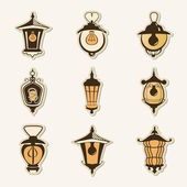 Set of old lamps — Vetor de Stock