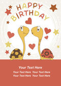 Turtle Birthday - Vector — Vector de stock