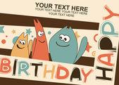 Tarjeta de cumpleaños con lindos gatitos — Vector de stock