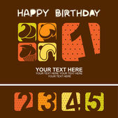 Carta di compleanno felice carino con cupcakes. illustrazione vettoriale — Vettoriale Stock