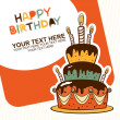 Stock Vector: Happy birthday cake card
