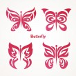 Set with butterflies tattoos — Stock Vector