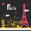 Stock Vector: Paris card design.