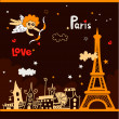 Paris - a city of love — Stock Vector