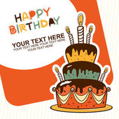 Happy birthday cake card — Stock Vector