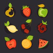 A set of fruit icons. — Stock Vector