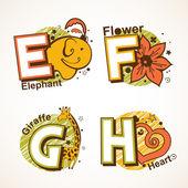 Alphabet set from E to H — Stock Vector