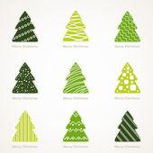 Christmas tree set — Stockvektor