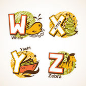 Alphabet set from W to Z — Stock Vector