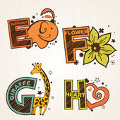 Alphabet set from E to H — Stock Vector