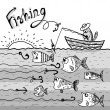 Stock Photo: Cat fishing boat