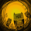 Halloween illustration owl — Stok fotoğraf