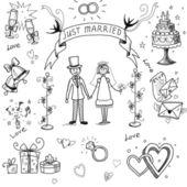 Wedding doodle sketchy — Stock Photo