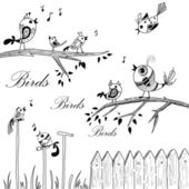 Birds on branches — Stock Photo