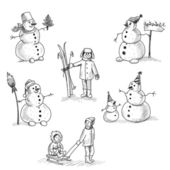 Snowman and child — Stock Photo