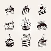 Set of cakes. — Vector de stock