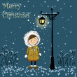 Little winter girl. Christmas card — 图库照片 #36165975