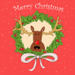 Christmas card with deer — Stock Photo