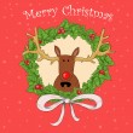 Christmas card with deer — Stock Photo