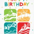 Cute happy birthday card with cupcakes — Stock Vector