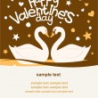 Cute Card Valentine's Day with a pair of swans — Stok Vektör
