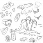 Summer set. Hand-drawn. — Stock Photo #39831275