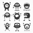 Collection of cartoon funny monsters silhouettes — Stock Vector