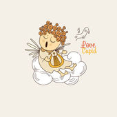 Cupid playing the harp — Vector de stock