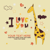 Romantic card with cute giraffe — Stock Vector