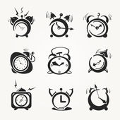 Alarm clock black icons — Stock Vector