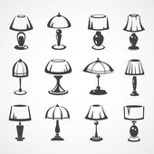 Vintage table lamp line illustration set — Stock Vector