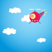 Helicopter and clouds — Stock Vector