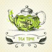 Kettle green tea. — Stock Vector
