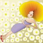 Женщина среди цветов — Cтоковый вектор
