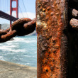 Rusty pole by the Golden Gate Bridge — Stock Photo