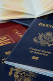 Opened and closed and passports — Stock Photo