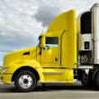 Stock Photo: Yellow truck on highway