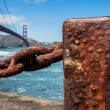 Stock Photo: Rusted old chain fence, Golden Gate Bridge