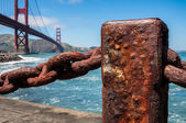 Rusted old chain fence, Golden Gate Bridge — Стоковое фото