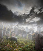 Spooky graveyard — Stock Photo