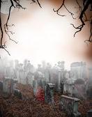жуткий кладбище — Стоковое фото